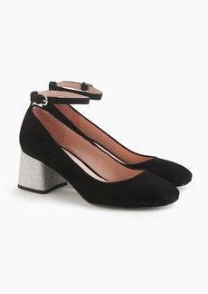 J.Crew Ankle-strap block heel pumps in suede with glitter heel