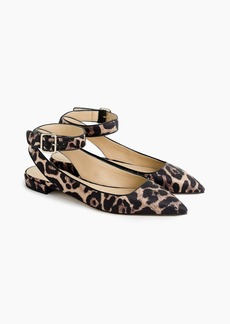 J.Crew Ankle-strap pointed-toe flats in leopard print