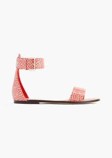 J.Crew Ankle-strap sandals in snakeskin-printed leather