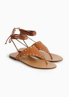 J.Crew Ankle-tie thong sandals in studded leather