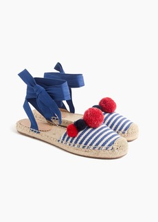 J.Crew Ankle-wrap espadrilles with pom-poms
