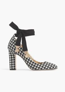 Ankle-wrap pumps in houndstooth