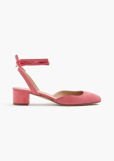 Ankle-wrap slingback heels in suede