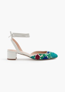 J.Crew Ankle-wrap slingback heels with embroidery