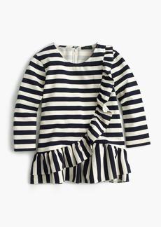 Asymmetrical striped ruffle top