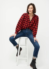 J.Crew Open V-neck shirt in buffalo check flannel