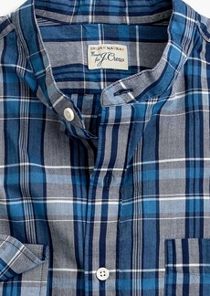 J.Crew Band-collar shirt in blue plaid