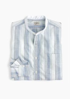 J.Crew Band-collar shirt in blue slub poplin stripe