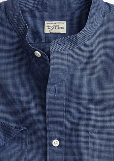 J.Crew Slim band-collar shirt in navy houndstooth