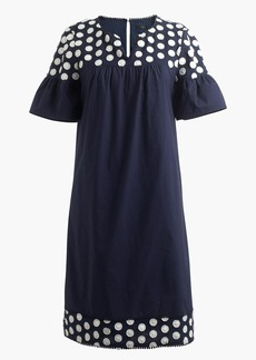 Bell-sleeve dress with fringe dot