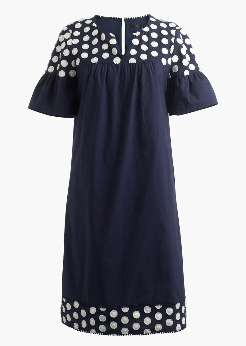J.Crew Bell-sleeve dress with fringe dot
