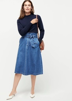 J.Crew Belted A-line midi denim skirt