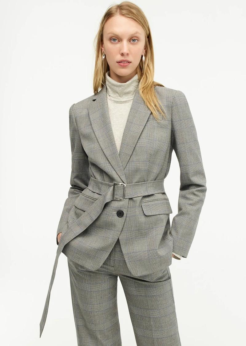 Belted blazer in glen plaid