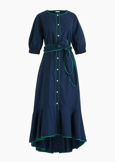 J.Crew Belted button-up dress in tipped cotton poplin