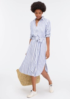 J.Crew Belted long-sleeve beach shirtdress in stripes