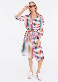 J.Crew Belted long-sleeve beach shirtdress in rainbow stripes