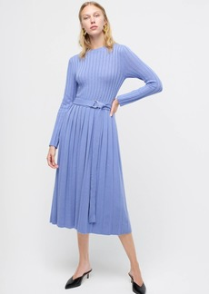 J.Crew Belted midi sweater dress with pleated skirt