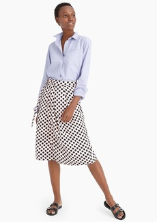 J.Crew Belted pleated midi skirt in satin-crepe