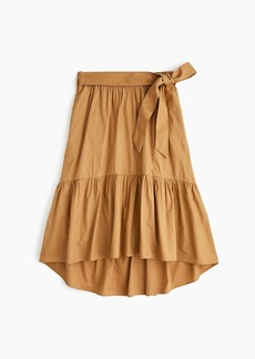 J.Crew Belted pull-on midi skirt in cotton poplin