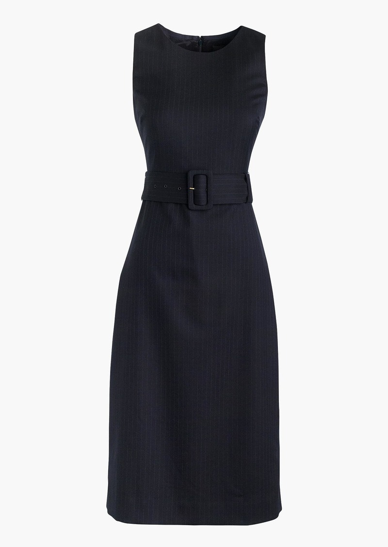 J.Crew Belted sheath dress in pinstripe Super 120s wool