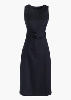 Belted sheath dress in pinstripe Super 120s wool