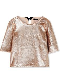 J.Crew Bianca Grosgrain-trimmed Sequined Crepe Top