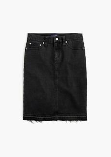 J.Crew Petite black denim pencil skirt with let-out hem