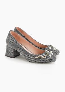 J.Crew Block-heel pumps in embellished plaid