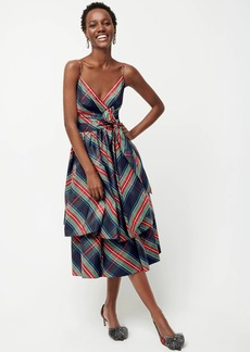 J.Crew Bow tiered taffeta dress in Stewart tartan