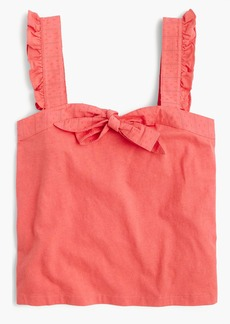 J.Crew Bow top with embroidered trim