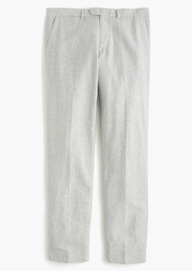 J.Crew Bowery classic pant in fine-striped cotton-linen