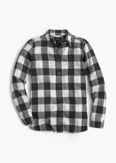 Boy shirt in charcoal buffalo plaid