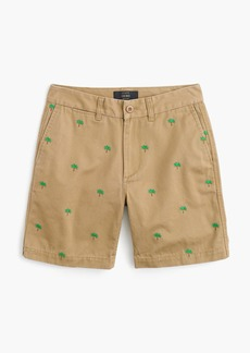 J.Crew Boyfriend chino short with embroidered palm trees