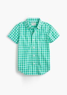 J.Crew Boys' short-sleeve Secret Wash shirt in green gingham
