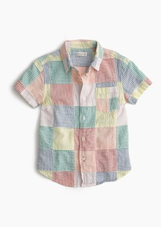J.Crew Boys' short-sleeve shirt in patchwork seersucker