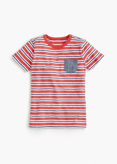 J.Crew Boys' striped chambray-pocket T-shirt in slub cotton