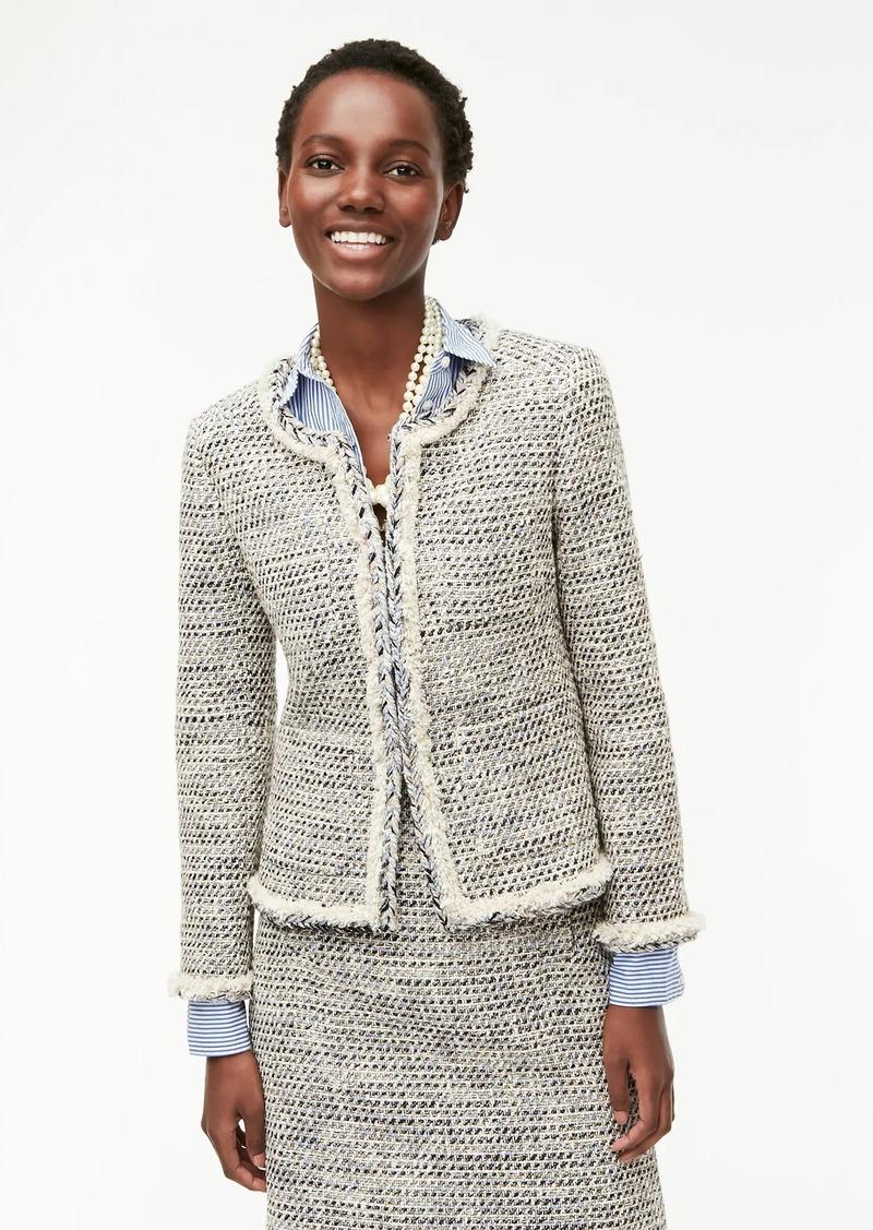 J.Crew Braided trim jacket in speckled tweed