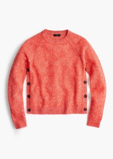 J.Crew Brushed lambswool cropped crewneck sweater with buttons