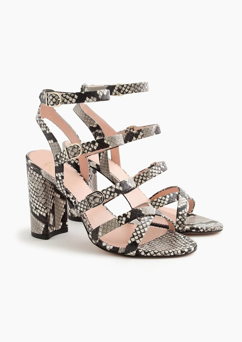 J.Crew Buckled high-heel sandals in faux snakeskin