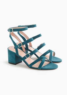 J.Crew Buckled midheel sandals in suede