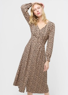 J.Crew Button-front A-line midi dress in leopard