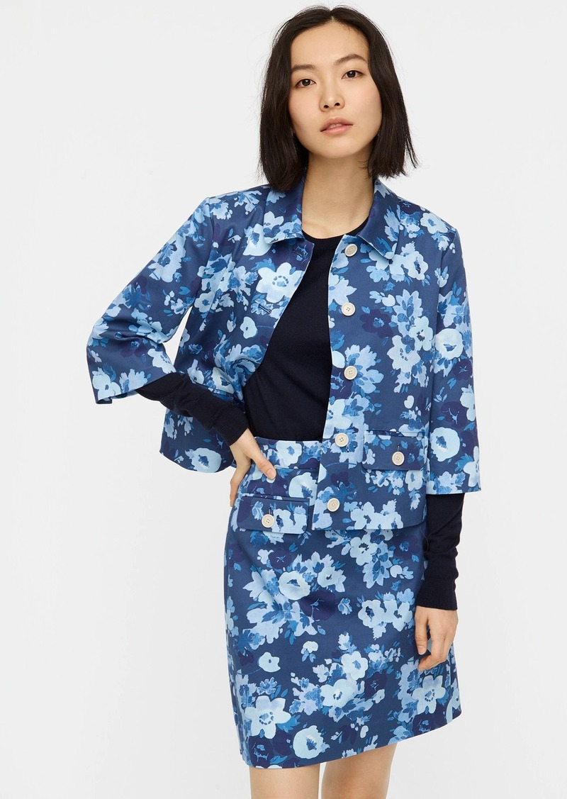 J.Crew Button-front jacket in watercolor begonias print