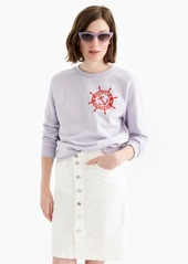 J.Crew Button-front stretch pencil skirt in white denim