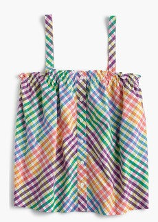 Button-front top in rainbow gingham