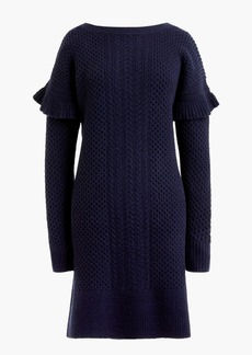 Cable-knit ruffle-sleeve sweater-dress