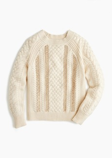 J.Crew Cable-knit sequin sweater