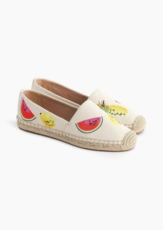 J.Crew Canvas espadrilles with embroidered fruits