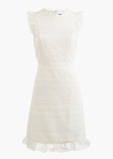 J.Crew Cap-sleeve ruffle dress in mixed lace