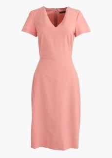 Cap-sleeve V-neck dress in Italian stretch wool