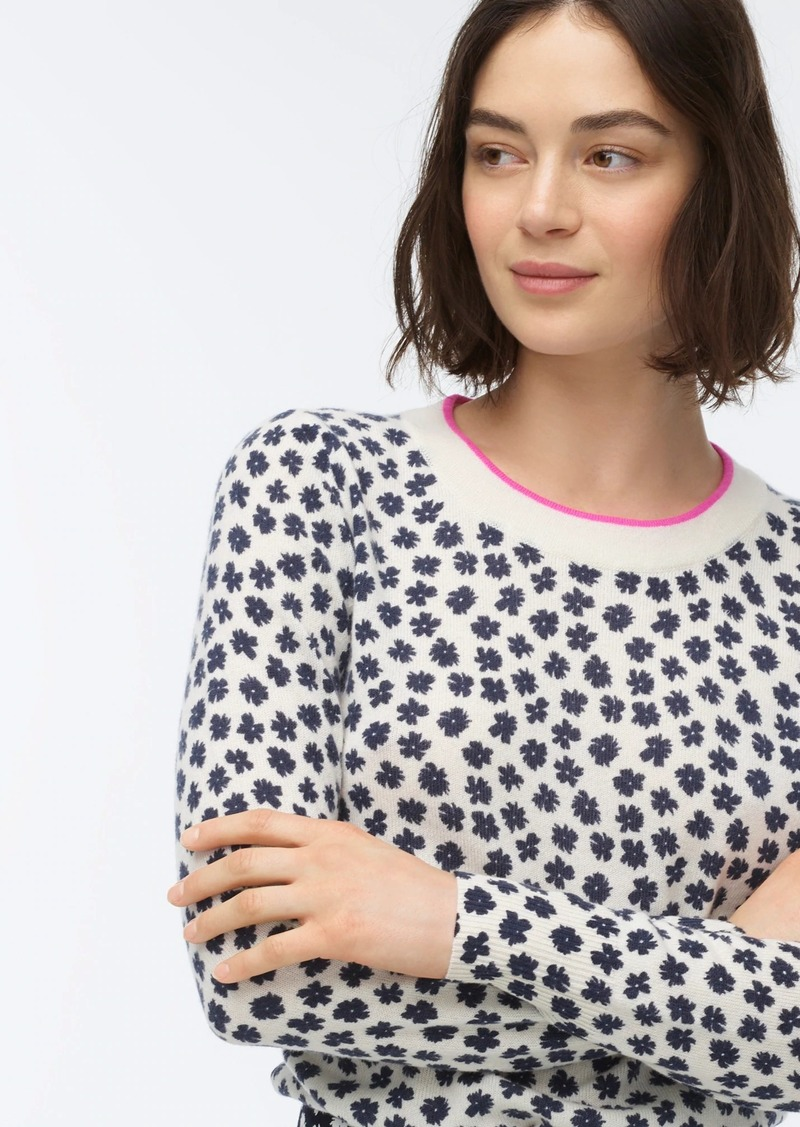 J.Crew Cashmere crewneck sweater in scattered daisies print